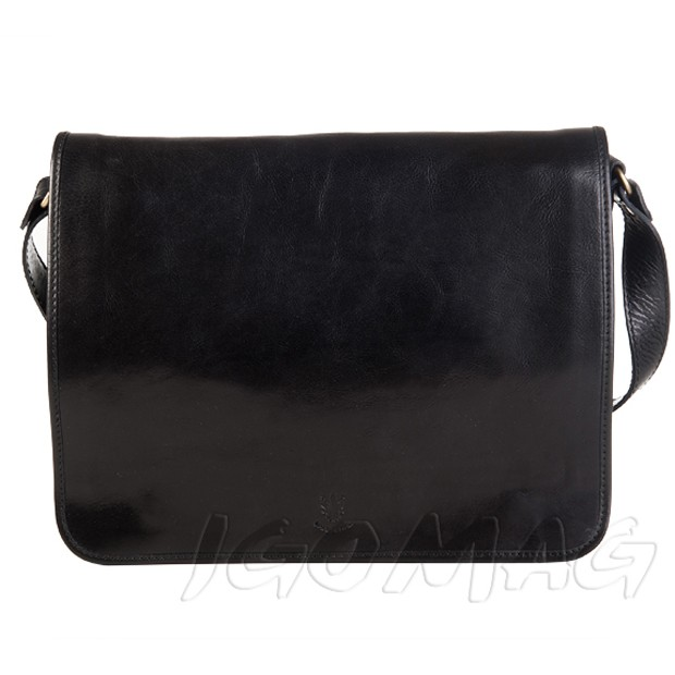 Włoska duża skórzana torba na ramię dwukomorowa A4 czarna (T273)