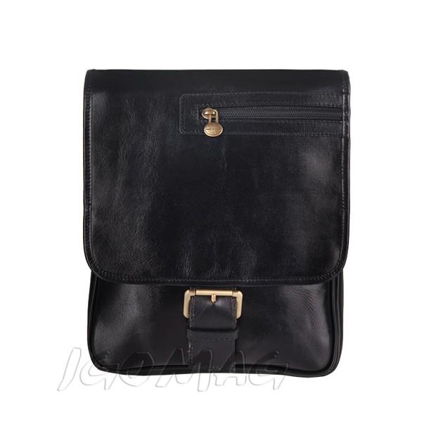 Florence - Męska mała skórzana torba na ramię czarna (T279)