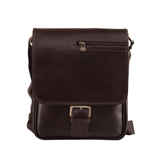 Florence - Męska mała skórzana torba na ramię ciemny brąz (T280)