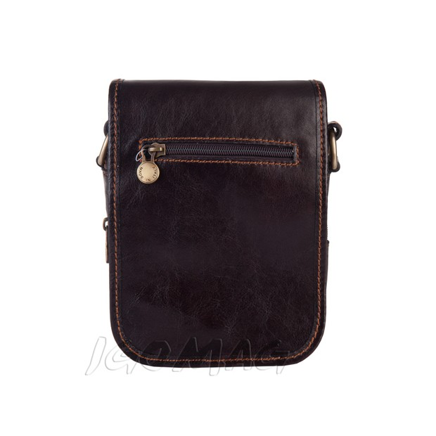 Marco - Włoska mała skórzana torba / saszetka na ramię ciemny brąz (T298)