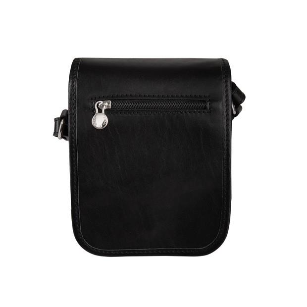 Marco - Włoska mała skórzana torba / saszetka na ramię czarna (T299)