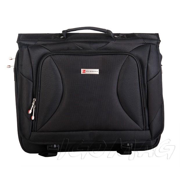 Filabora - Męska solidna torba na na ramię laptop czarna (T311)