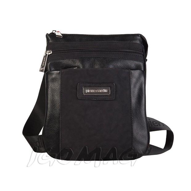 Pierre Cardin - Męska mała torba listonoszka na ramię czarna (T319)