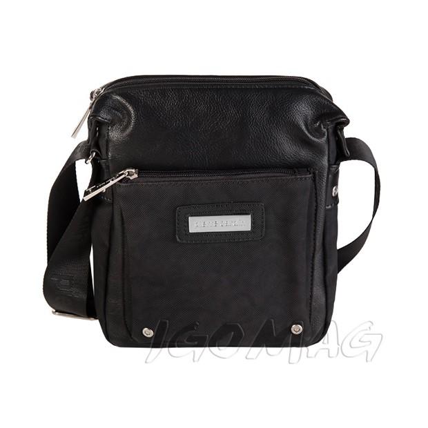 Pierre Cardin - Męska mała torba listonoszka na ramię czarna (T321)