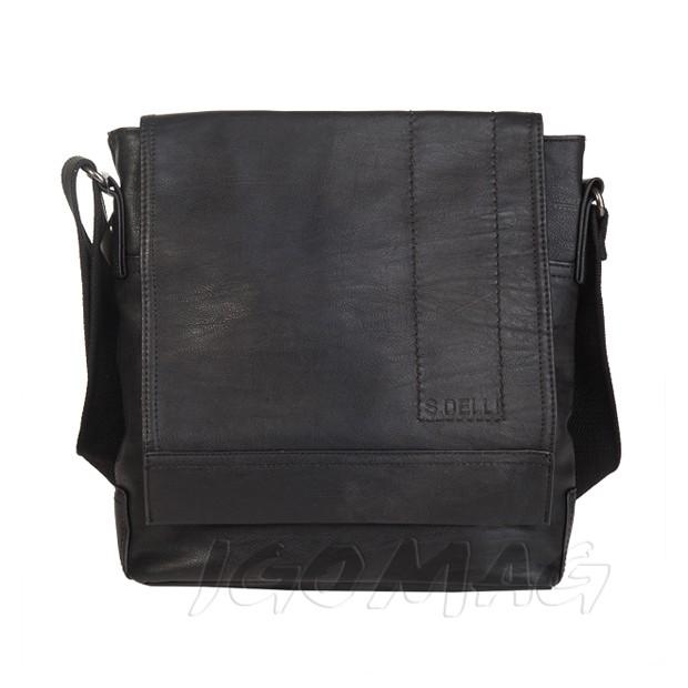 S.Delli - Męska duża torba listonoszka na ramię czarna A4 (T346)