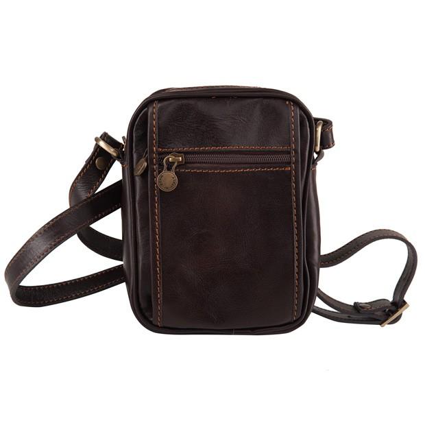 Marco - Włoska mała skórzana torba / saszetka na ramię ciemny brąz (T366)