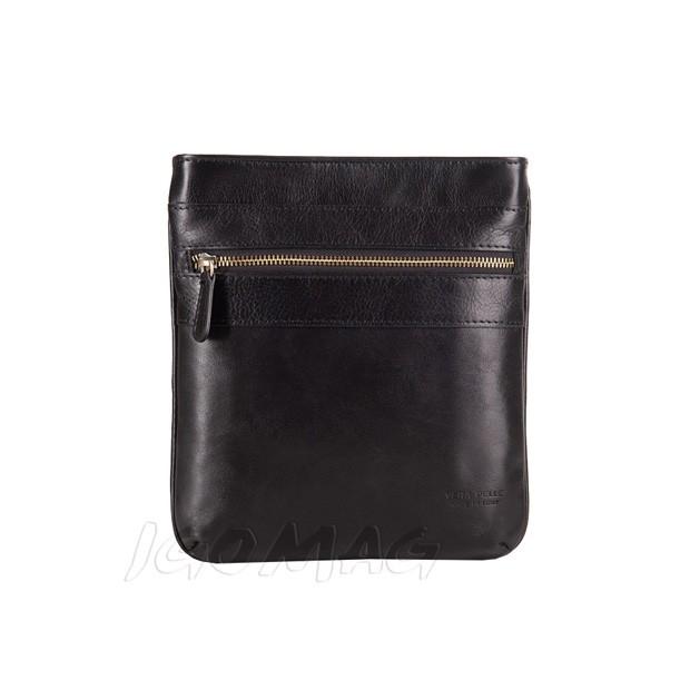 Vera Pelle - Włoska skórzana torba listonoszka na ramię czarna (T380)