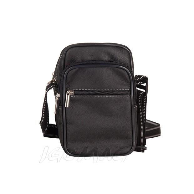 Męska mała skórzana torba / saszetka na ramię 2 komory czarna (TM-15)