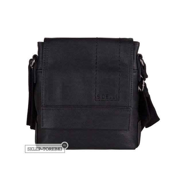 S.Delli - Męska mała torba listonoszka na ramię czarna A4 (SD060-3)