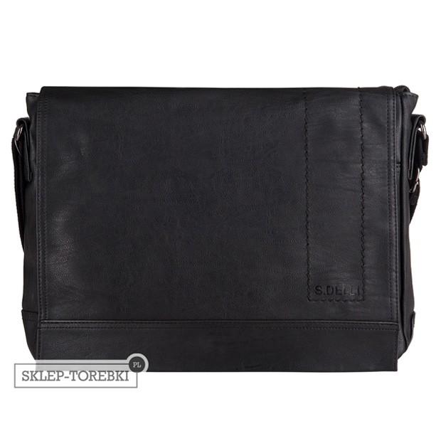 S.Delli - Męska duża torba listonoszka na ramię czarna A4 (SD060-2)