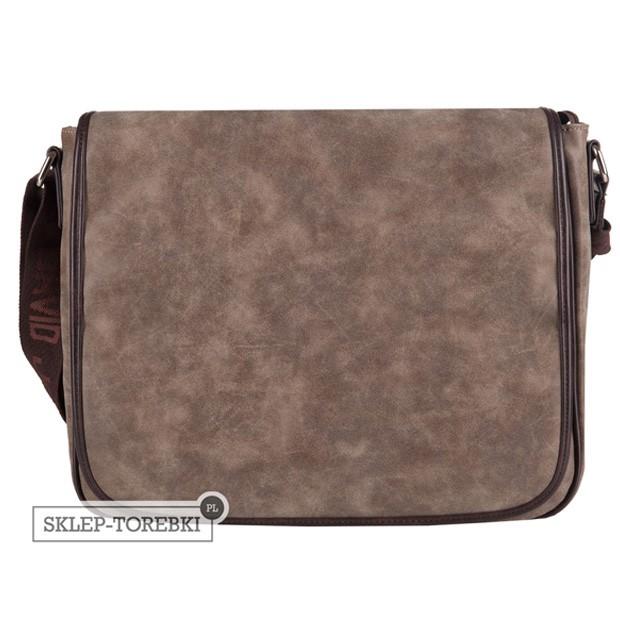 David Jones - duża torba na ramię A4 eko nubuk brązowa (CM0774A)