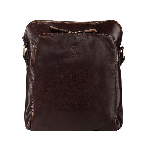 Vera Pelle - Włoska skórzana torba / saszetka na ramię dwukomorowa ciemny brąz (T462)
