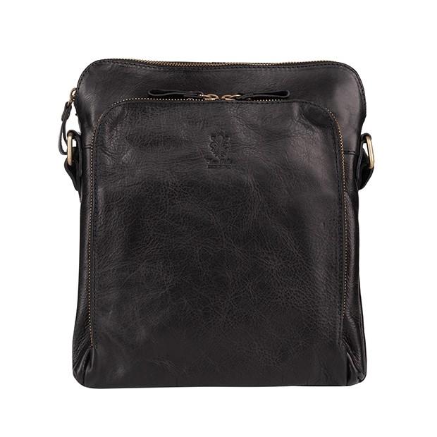 Vera Pelle - Włoska skórzana torba / saszetka na ramię dwukomorowa czarna (T463)