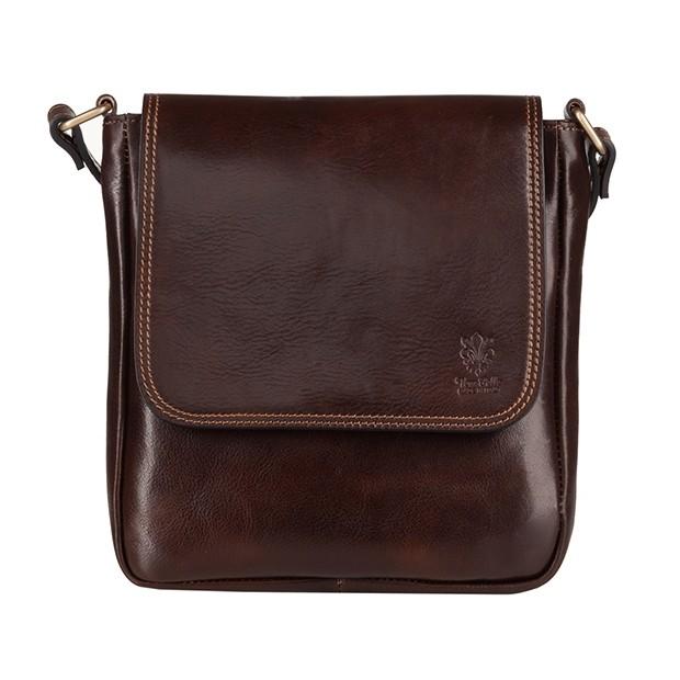 Vera Pelle - Włoska mała skórzana torba / saszetka na ramię ciemny brąz (T469)