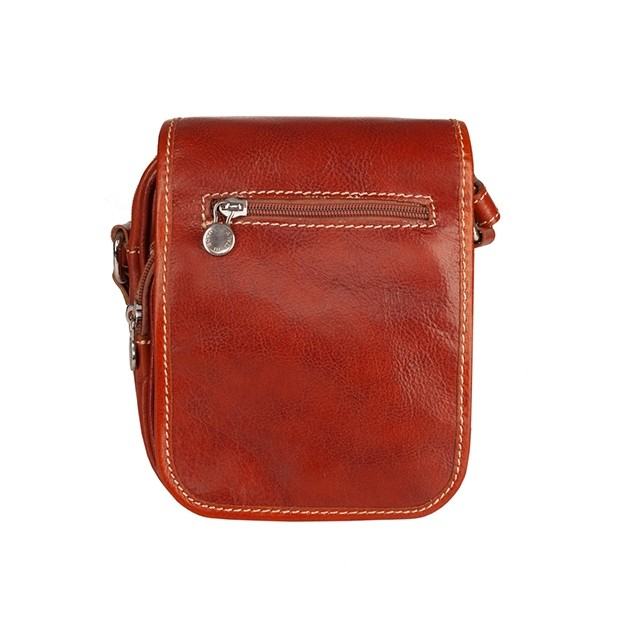 Włoska mała skórzana torba / saszetka na ramię jasny brąz (T471)