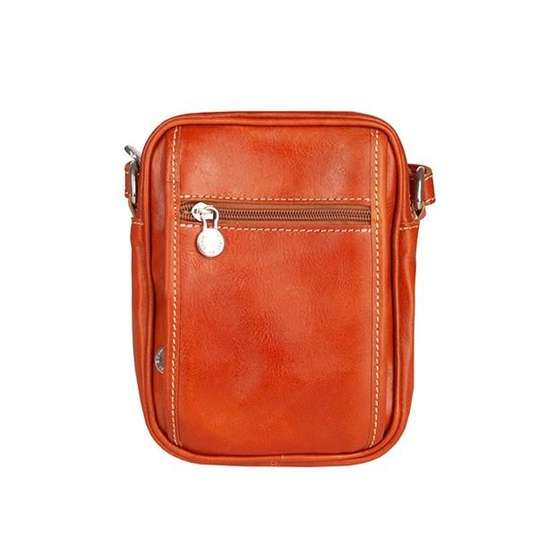 Włoska mała skórzana torba / saszetka na ramię camel (T472)