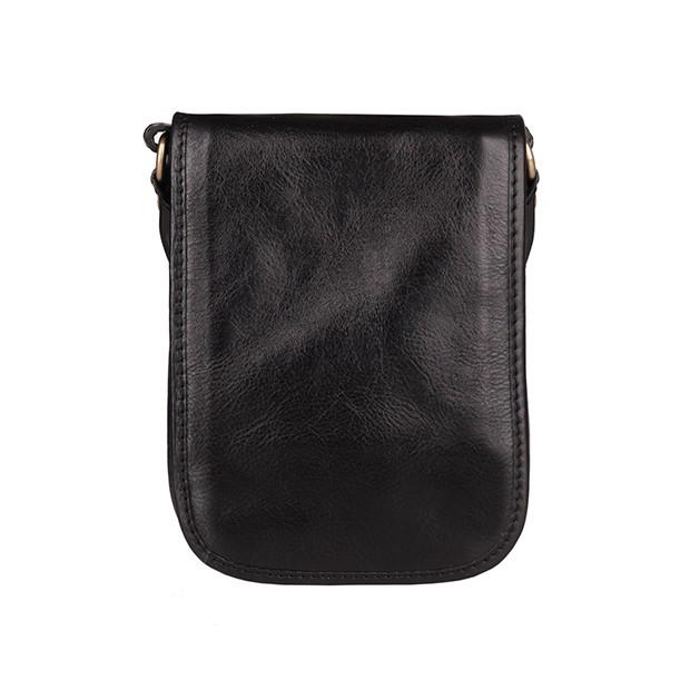 Włoska mała skórzana torba / saszetka na ramię dwukomorowa czarna (T473)