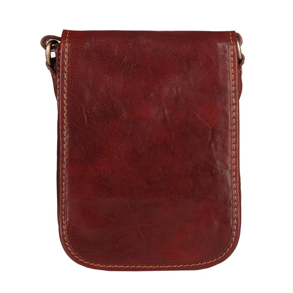 Włoska mała skórzana torba / saszetka na ramię dwukomorowa ciemny brąz (T474)