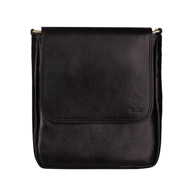 Vera Pelle - Włoska mała skórzana torba / saszetka na ramię czarna (T476)