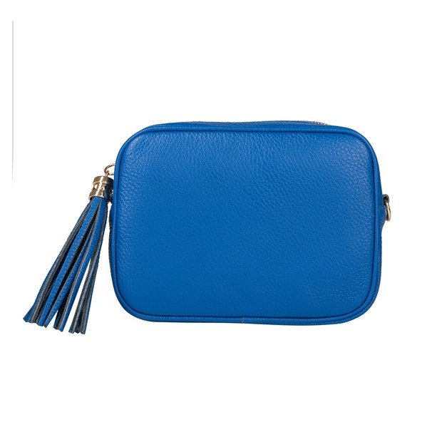 Włoska mała skórzana torebka listonoszka z frędzlami niebieska (TS-3608-18)