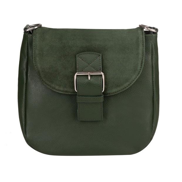Włoska duża skórzana torebka listonoszka z klapką zielona (TS-3790-11)
