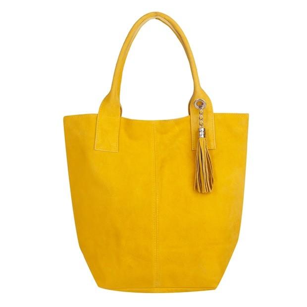 Włoska torebka worek A4 z frędzlami zamsz żółta (TS-4137-12)