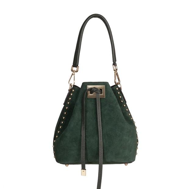Włoska torebka mały worek zamsz dżety zielona (TS-4164-11)