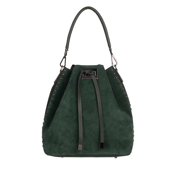 Włoska torebka worek zamsz dżety zielona (TS-4323-11)