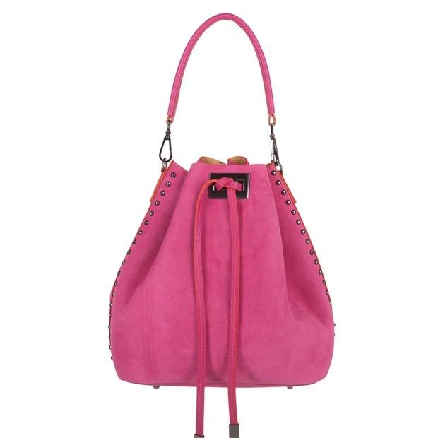 Włoska torebka worek zamsz dżety fuksja (TS-4323-21)