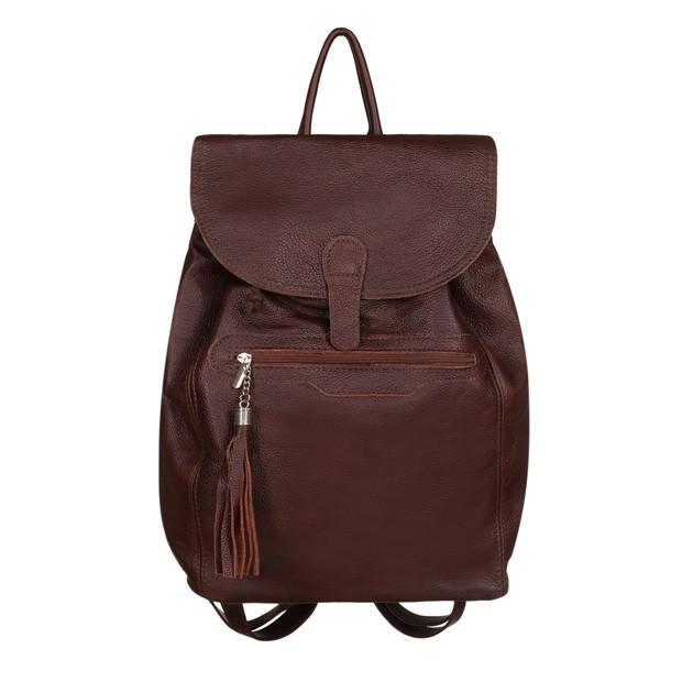Skórzany plecak z frędzlami ciemny brąz (TS-5271-19)