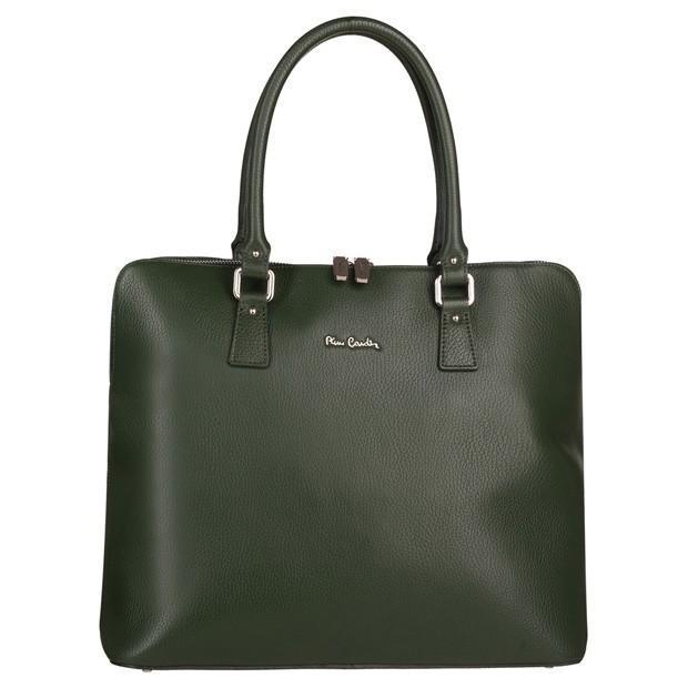 Pierre Cardin - Włoska skórzana elegancka duża aktówka A4 zielona (TS-5373-11)