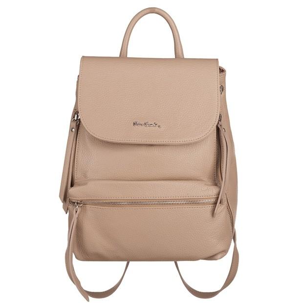 Pierre Cardin - skórzany plecak srebrne zamki beżowy (TS-5377-08)