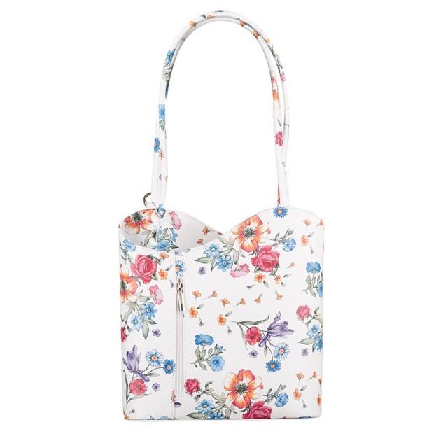 Florence - Skórzana włoska torebka plecak 2w1 kwiaty (TS-5669-72)