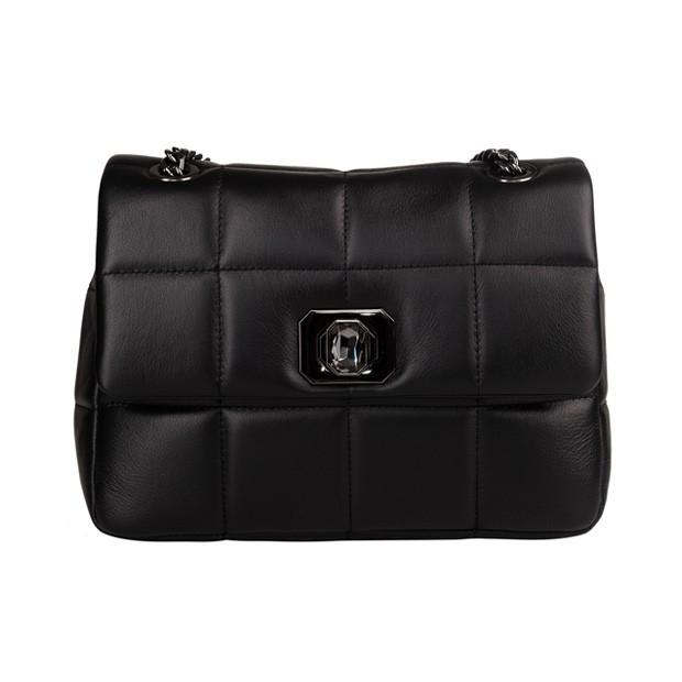 Vera Pelle - Włoska skórzana torebka na łańcuszku pikowana czarna (TS-5815-01)
