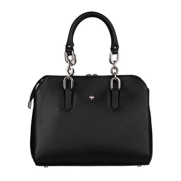 Włoska skórzana torebka kuferek czarny (TS-5824-01)