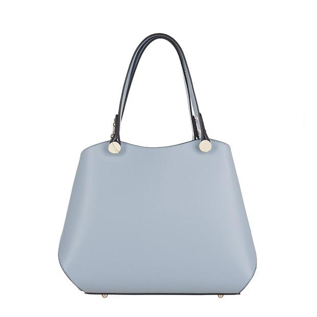 Vera Pelle - Włoska elegancka torebka kuferek matowa skóra błękitna (TS-3174-14)