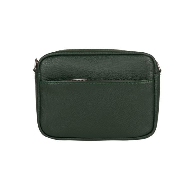 Włoska mała skórzana torebka listonoszka z kieszenią zielona (TS-5835-11)