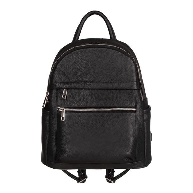 Włoski plecak z kieszeniami skóra dolaro czarny (TS-5838-01)