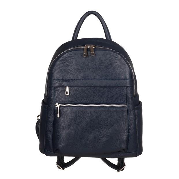 Włoski plecak z kieszeniami skóra dolaro granatowy (TS-5838-04)