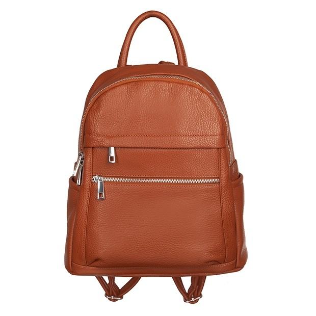 Włoski plecak z kieszeniami skóra dolaro camel (TS-5838-05)