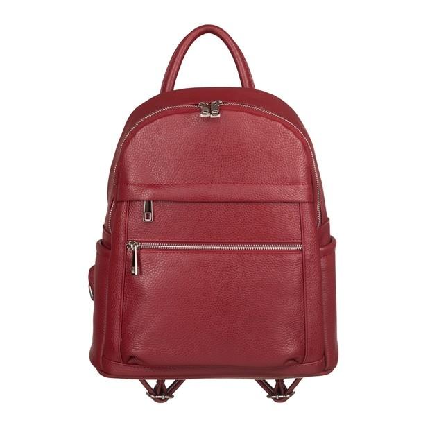 Włoski plecak z kieszeniami skóra dolaro czerwony (TS-5838-06)