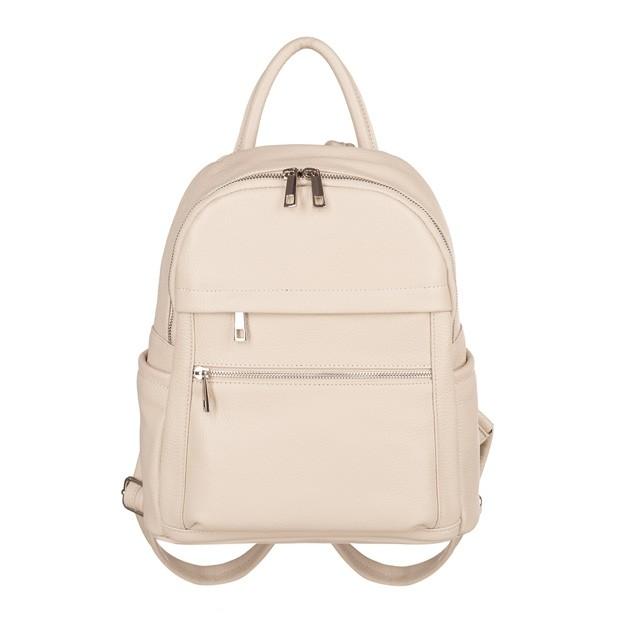Włoski plecak z kieszeniami skóra dolaro kremowy/ecru (TS-5838-13)