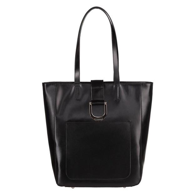 Włoska skórzana torebka shopper bag A4 czarna (TS-5842-01)