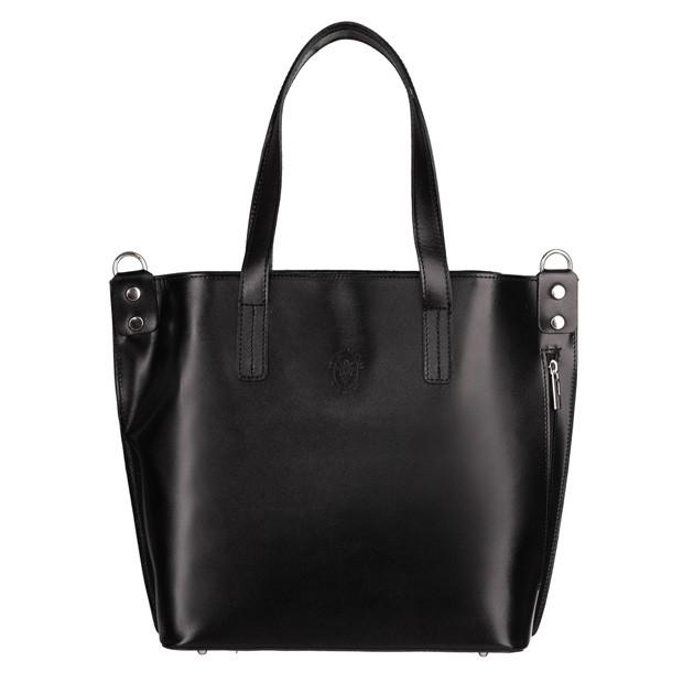 Vera Pelle - Włoska klasyczna torebka skórzana czarna (TS-5843-01)
