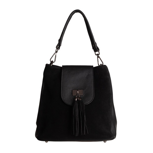 Włoska torebka worek skóra+zamsz z frędzlami czarna (TS-5850-01)