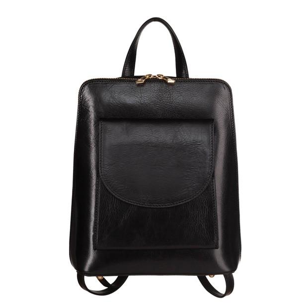 Włoski skórzany plecak czarny (TS-5857-01)