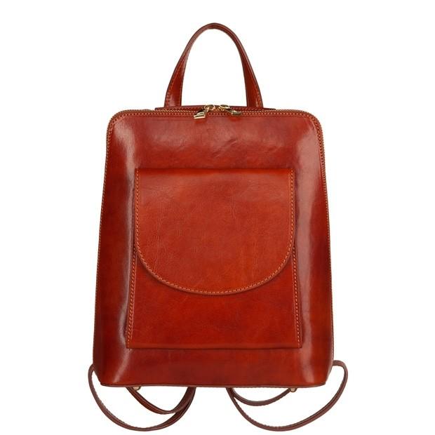 Włoski skórzany plecak z brązowy (TS-5857-02)