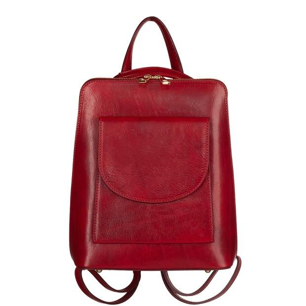 Włoski skórzany plecak z bordowy (TS-5857-07)