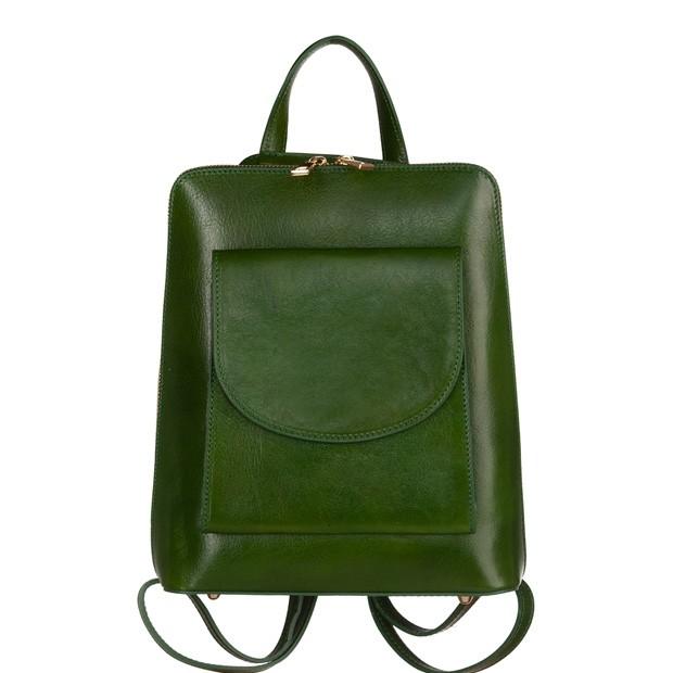 Włoski skórzany plecak z zielony (TS-5857-11)