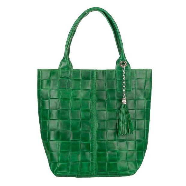 Włoska torebka skórzana worek A4 z frędzlami zielona (TS-5858-11)